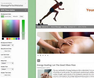 Massage Website Theme Customizer